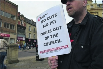 No cuts, no PFI, Tories out of the council, photo Katie Simpson