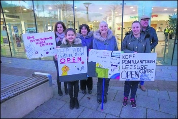 Protest outside Caerphilly council offices to save Pont Leisure Centre