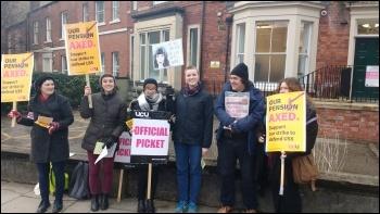 UCU strikers in Leeds taking action in defence of pensions 22 February 2018, photo Scott Jones