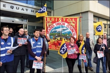 PCS members in Bristol demonstrating against the government's pay cap, photo Roger Thomas