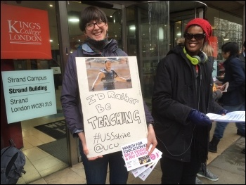 Lecturer picketing, London 12.3.18, photo by Paula Mitchell
