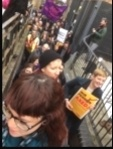 UCU strikers squeezing into the London protest, 13.3.18, photo Paula Mitchell