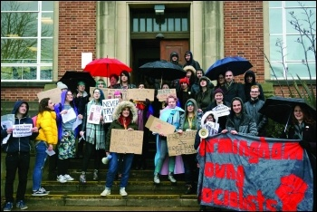 Birmingham Socialist Students protest Mogg's visit, photo Birmingham SP
