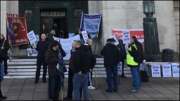 Protesting against Swansea council's cuts March 2018, photo Swansea SP