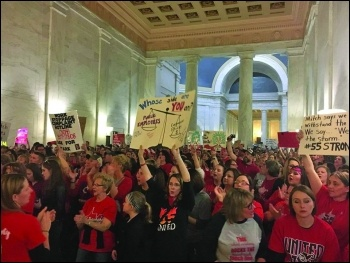 Striking teachers inside the West Virginia legislature capitol building, photo Socialist Alternative, photo Socialist Alternative