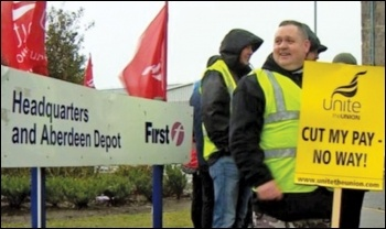 Striking Aberdeen bus drivers, photo Socialist Party Scotland