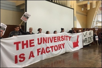 Goldsmiths students occupying in support of university workers' pension strikes, photo by Goldsmiths Socialist Students