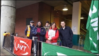 Poplar DLR picket line, photo Tower Hamlets Socialist Party