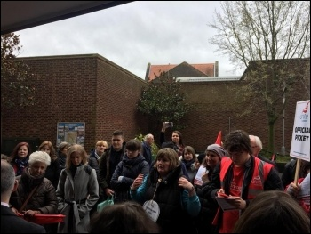Bromley libraries picket line 3 April, photo London Socialist Party