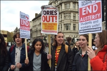 Young people protesting on budget day, November 2017