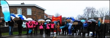 Strike at St Helens school, Barnsley, 10.4.18, photo by A Tice