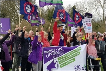 Trade unionists and campaigners rallying at Runnymede in Surrey, photo Surrey Unison