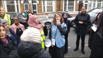 Socialist Party member Louise Cuffaro addressing striking school workers, Avenue school, 24.4.18, photo James Ivens