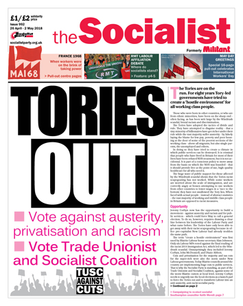 The Socialist issue 992 front page: Tories out