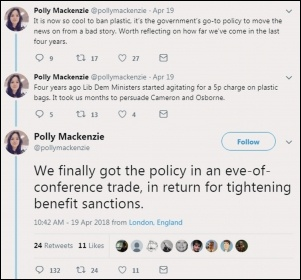 Polly Mackenzie is... proud that she got a plastic bag charge by attacking benefits claimants?