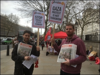 Socialist Party members protesting in London, 2018