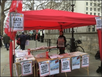 Socialist Party stall in central London; against war on Gaza