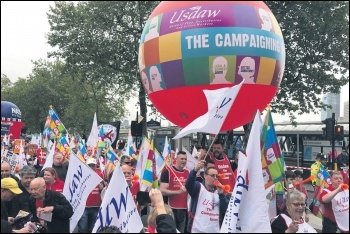 Usdaw members on the TUC march, 12.5.18