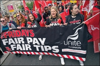 TGI Friday workers marching on the TUC demo, 12.5.18, photo Paul Mattsson