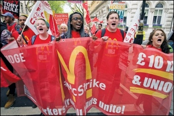 McDonald's strikers on the TUC march, 12.5.18, photo Paul Mattsson
