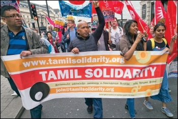 Tamil Solidarity on the TUC march, 12.5.18, photo by Paul Mattsson