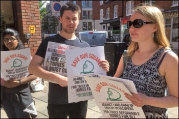 Campaigning outside C&R, 9.5.18, photo by Save Our Square