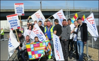 Tesco Dagenham distribution centre: One-day Usdaw strike over pay, 17-18 May, photo by Richard Groves