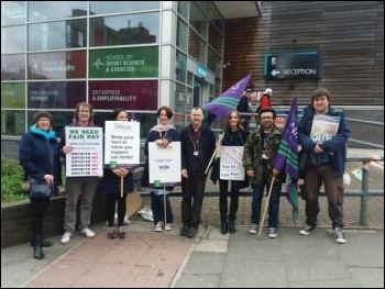 Leeds College strike picket line, photo Leeds Socialist Party