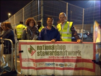 Newly elected Usdaw deputy general secretary Dave McCrossen (r) with NSSN chair Rob Williams (c) and Socialist Party deputy general secretary Hannah Sell (l), photo Mary Finch