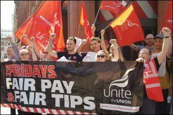 The picket line at TGI Friday in Covent Garden, 18.5.18, photo Claire Laker-Mansfield