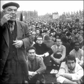 50,000 attended the mass meeting at Charléty Stadium, despite the Communist Party warning them off