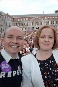 Socialist Party members Paul Murphy and Ruth Coppinger, members of Ireland's parliament, celebrating the victory, photo by Paul Murphy