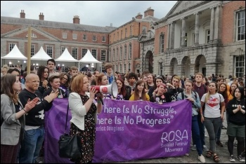 Ruth Coppinger TD addressing a crowd of abortion rights campaigners, photo by Rosa