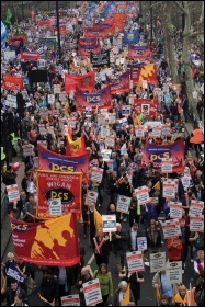 PCS members marching against cuts, photo Senan
