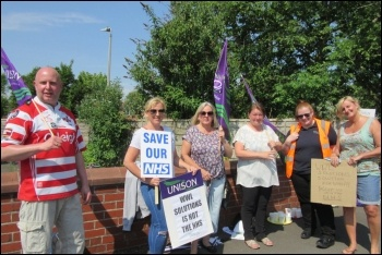 Part of the Wigan picket line, May 2018, photo by Keep Our NHS Public