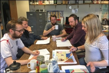 The Socialist editorial team: (left to right) Ian Pattison, layout; Dave Carr, international; James Ivens, news and opinion; Scott Jones, workplace and campaigns; Sarah Wrack, editor of the Socialist
