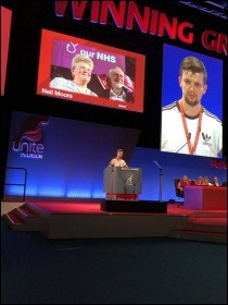 Neil Moore speaking in the FLA debate at Unite policy conference 2018