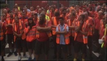 Swansea Royal Mail workers and CWU members voted for strike action in defence of Martin Henwood, photo CWU