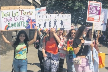 London school students marching against Trump, 13.7.18, photo Sarah Wrack