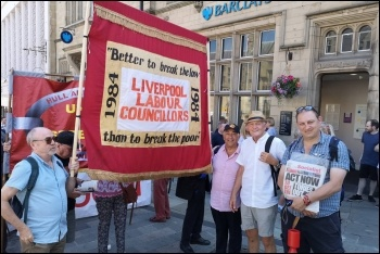 Some of Militant-led Liverpool 47 socialist Labour councillors at the Durham Miners Gala, 14.7.18, photo by Dave Nellist