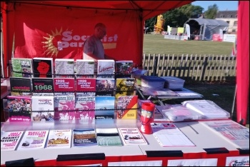 The Socialist Party stall at the Durham Miners' Gala, 14.7.18, photo by Elaine Brunskill