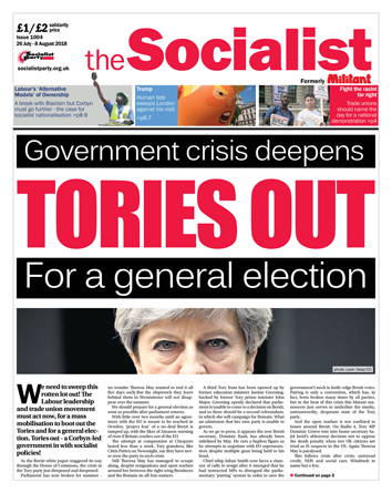 The Socialist issue 1004 front page: Tories out
