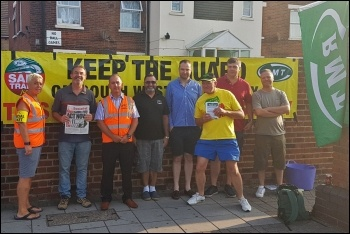 South Western rail workers on strike last year, 26.7.18, photo Declan Clune
