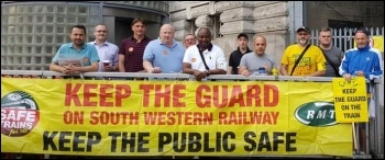 Picket at Waterloo, South West Railways strike July 2018