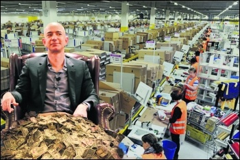 Billionaire Bezos would be nothing without his workers, photos reynermedia, Steve Jurvetson, Scott Lewis, all CC
