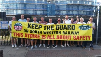 Striking RMT guards at Fratton, Portsmouth 4 August, photo RMT, photo RMT