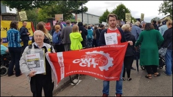 Socialist Party Scotland members on the Glasgow protest, photo Matt Dobson