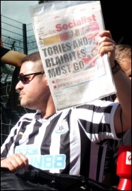 Protesting outside Sports Direct in Newcastle, August 2018, photo Elaine Brunskill