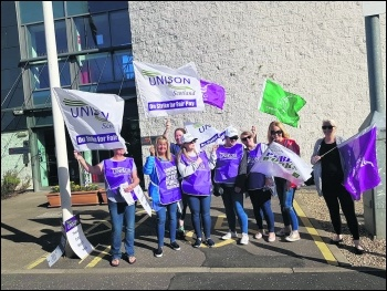 East Dunbartonshire Unison council workers strike August 2018, photo Socialist Party Scotland