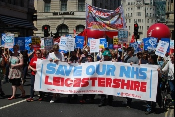Save Our NHS Leicestershire on a national NHS demonstration in London 30 June 2018, photo Mike Barker, photo Mike Barker